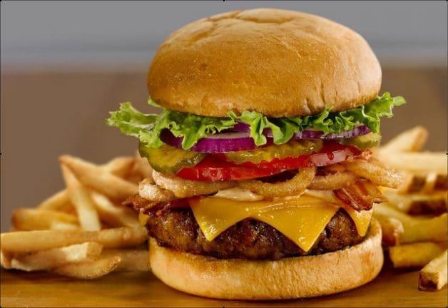 Thick, juicy burger at Perkins