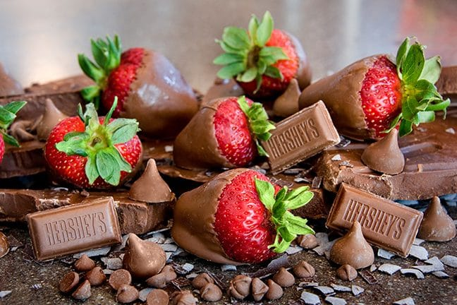 Strawberries Dipped in Hershey's Chocolate