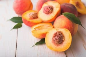 Niagara Peaches cut in half