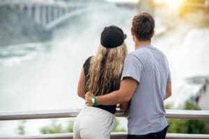 Romantic couple viewing Niagara Falls