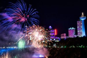Fireworks over the Horseshoe Falls for Niagara Falls New Year's Eve celebration.