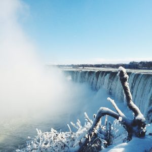 Niagara Falls and its snowy surroundings in winter.