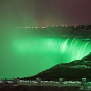 Niagara Falls St. Patrick's Day illumination.