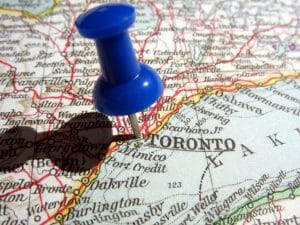 Pin in map of Toronto