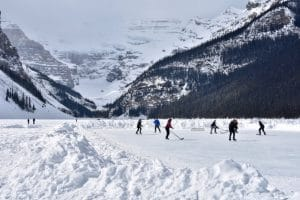 Playing hockey on a frozen lake