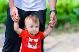 Toddler wearing a Canada t-shirt