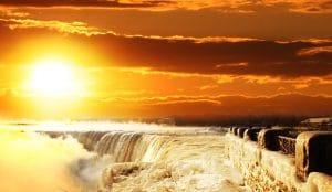 Sun shining on Niagara Falls