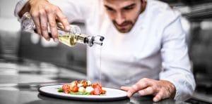 Chef preparing a plate