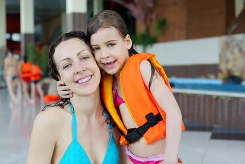 Mom and Child at Waterpark